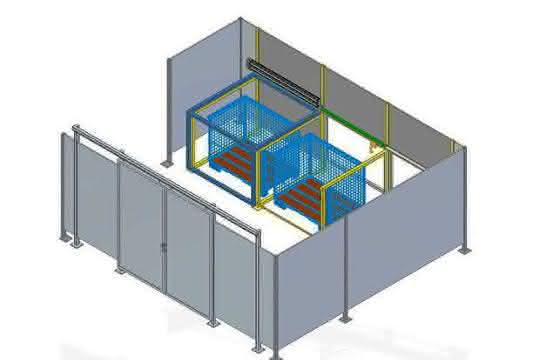 Roboterzelle mit drei Kammern