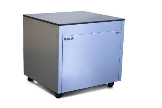 Modular workstation with integrated gas generation and a sound-dampening vacuum pump enclosure