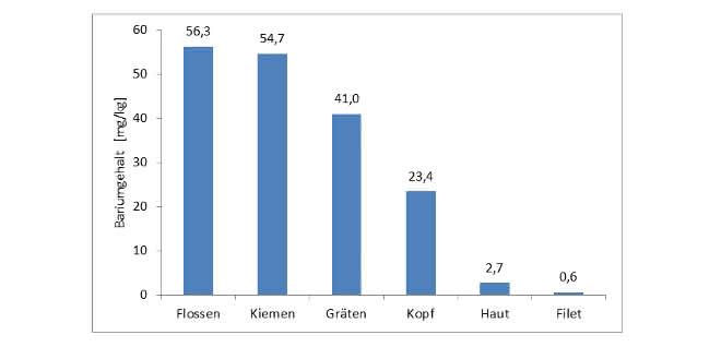 Bild 3: Bariumgehalte der einzelnen Fischteile einer Schwarzwaldforelle.