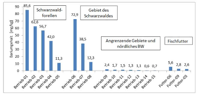 Bild 4: Bariumgehalt [mg/kg] in Kiemen, Flossen und Gräten.