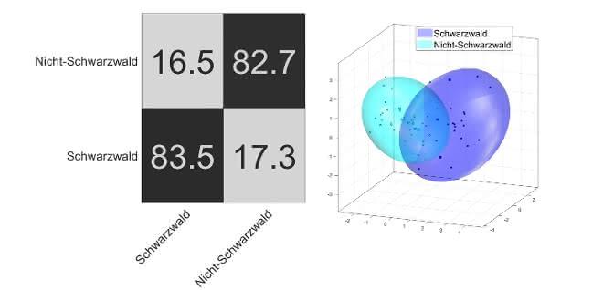 Bild 5: Konfusionsmatrix und Klassifizierungsmodell der PCA-LDA-Auswertung der 1H-NMR Spektren.