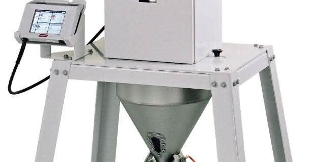 Dosiergerät mit Klappdeckel und maximal 350 Kilogramm pro Stunde Durchsatzleistung.
