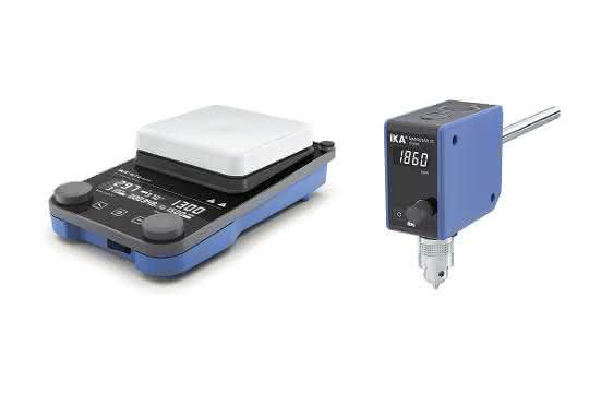 Der Magnetrührer RCT 5 digital (links) und das Rührwerk Nanostar 7.5 digital