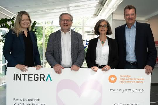 V.l.n.r: Ruth Nieser-Loosli, Corporate Relations Manager, Krebsliga Schweiz; Dr. rer. nat. Rolf Marti, Leiter Forschung, Innovation & Entwicklung und Mitglied der Geschäftsleitung, Krebsliga Schweiz; Lydiane Saucède, PhD, Produktmanagerin & Application Scientist, Integra Biosciences; Jürg Bass, Marketing Communications Director, Integra Biosciences.