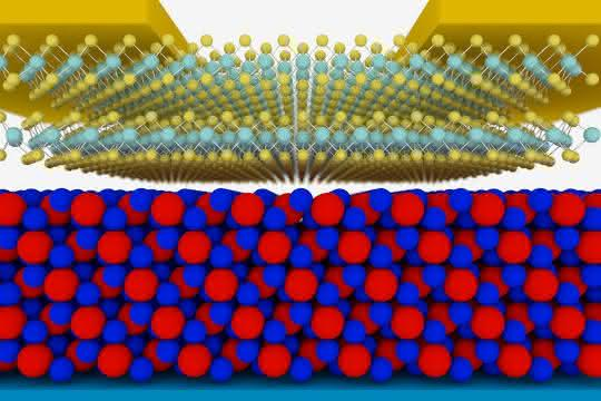 Schematische Skizze des neuen Transistors: In rot-blau: der Isolator, darüber der Halbleiter.