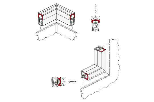 Kantenschutz-Dichtprofil-Ecken