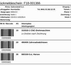 Barcodes auf Fertigungspapieren