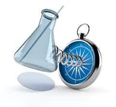 Erlenmeyerkolben und Kompass