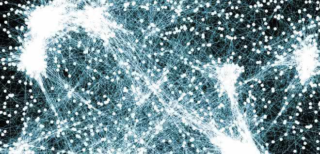 Gene und Proteine in Zellen wechselwirken auf vielfältige Weise miteinander. Jeder Punkt repräsentiert ein Gen, die Verbindungen ihre Interaktionen. Mit der neuen Methode könnten sich ganze Gennetzwerke in einem Schritt biotechnologisch beeinflussen lassen.