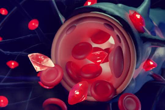 Graphische Darstellung von Blutkörperchen und Nanodiamanten