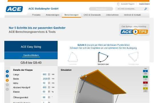 Online-Berechnungsprogramm für Gasfedern der ACE Stoßdämpfer GmbH