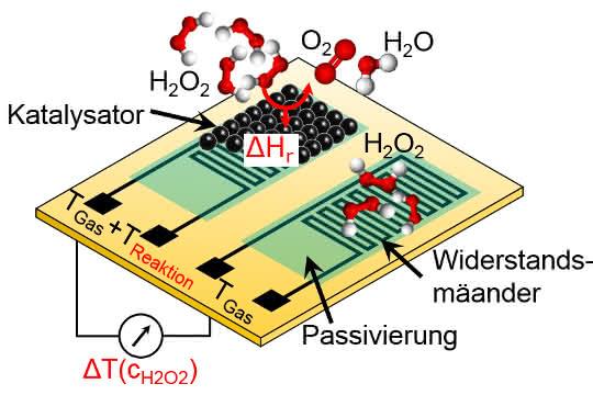 Bild 1: Schematische Darstellung des kalorimetrischen Gassensors.