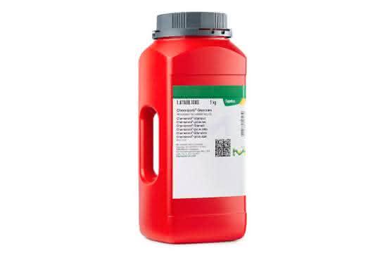 Roter Behälter mit grauem Deckel (Foto eines Behälters mit Chemizorb-Produkt)