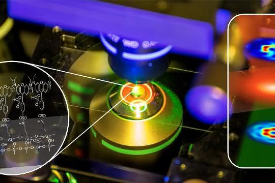 Eine Monoschicht organischer Moleküle wird in das fokussierte Lichtfeld eingebracht, das bei Beleuchtung mit dem Nano-Lichtfeld eine charakteristische Antwort in Form von Fluoreszenz aussendet.