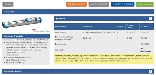 Online-Auswahltool: In 15 Minuten zum linearen Antriebssystem
