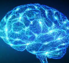 Abstrakte Darstellung neuronaler Vernetzung im Gehirn