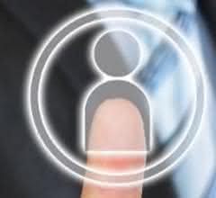 Finger tippt auf ein Symbol, das abstrakt eine Person darstellt