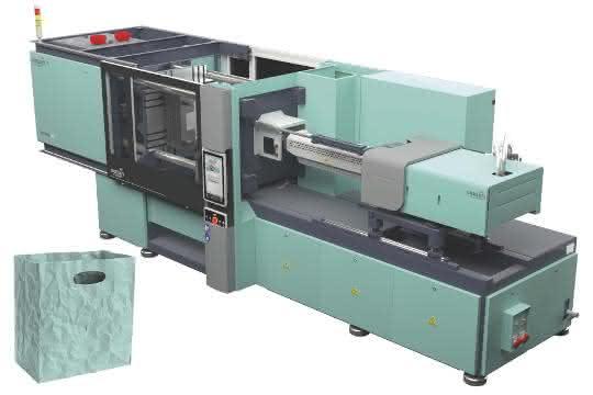 Auf einer hydraulischen Spritzgießmaschine wurde eine Knitterbox hergestellt.