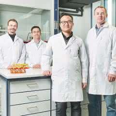 Das Forscherteam am KIT: Michael Knapp, Sylvio Indris, Weibo Hua, Björn Schwarz.