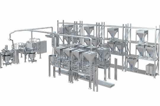 Das System umfasst den An- und Abtransport der zentral gelagerten Komponenten, sowie die Dosierung und Mischung der benötigten Additive und Zusatzstoffe in Kleinstmengen.