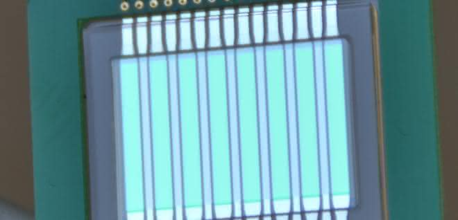 Chip mit Lichtquellen und Lichtdetektoren für die Analyse von Schadstoffen in Milch.