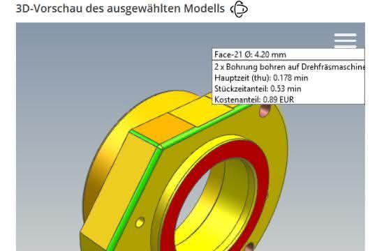 Eine farbige Ansicht des 3D-Modells visualisiert nach dem Ampelprinzip die Kostenverteilung: Bei Rot wird's teuer, der Konstrukteur sollte nachbessern.