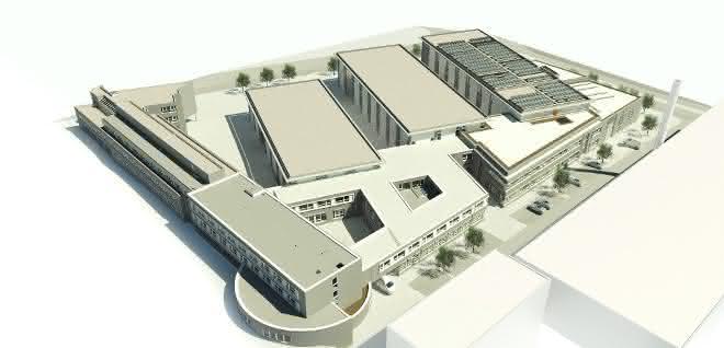 Skizze des Gesamtgebäudekomplexes des IKV nach Errichtung der neuen Gebäudeteile. Rechts im Bild die neuen Gebäude für das Plastics Innovation Center 4.0