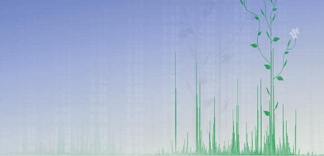Symbolgrafik: Analytisches Spektrum (Peaks) und Pflanze