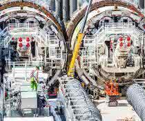 Vier Tunnelnbohrmaschinen sorgen für Tempo