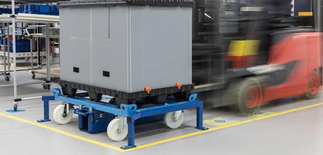 Be- und Entladen von Bodenrollern: Dockingstation hält Trolley an Ort und Stelle