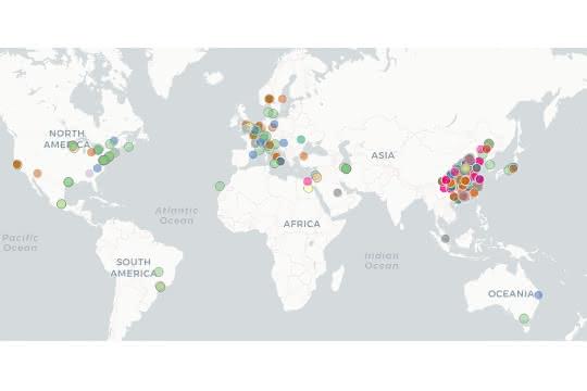 Weltkarte zu klinischer Corona-Forschung
