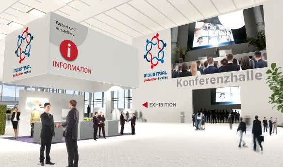 "Foyer der virtuellen Industriemesse ""Industrial production + handling"""