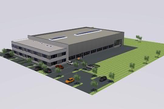 Eurotech-Neubau Rosenfeld Vorderansicht