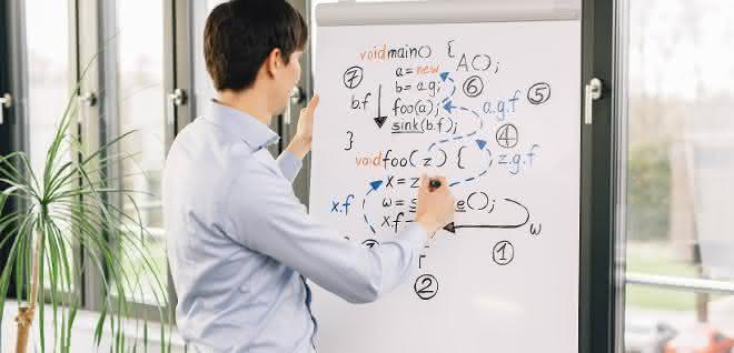 Junger Mann vor Flip Chart mit Formeln