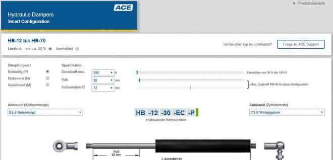 Bremszylinder online konfigurieren
