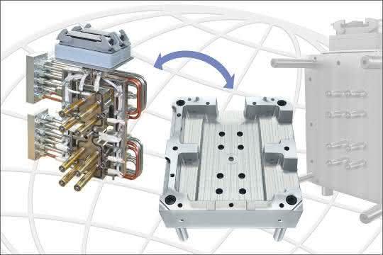 Das Komplettsystem mit den angebauten Zuleitungen und Anschlüssen