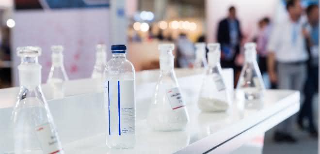 Erlenmeyerkolben/Laborglasflaschen (Impression von der Chemspec 2019)