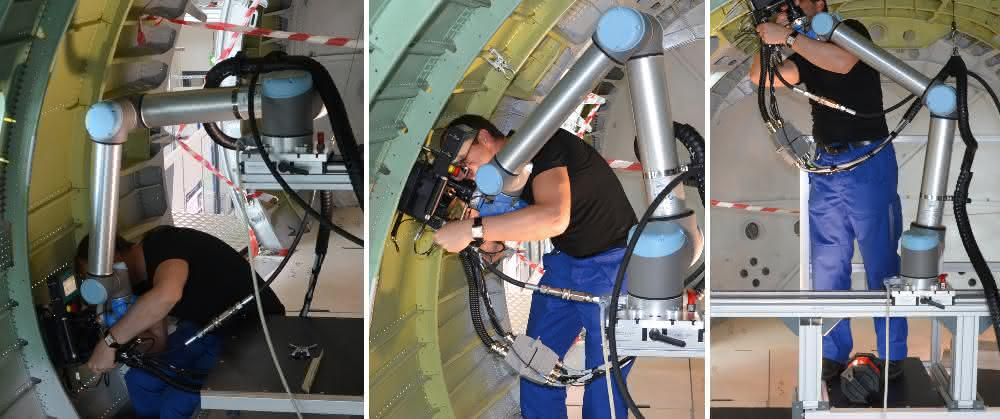 Cobot zur Flugzeug-Endmontage: Der kollaborative Kollege schraubt am Flugzeug-Rumpf