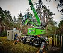 Telekran im Einsatz: Ein Telekran im Brunnenbau