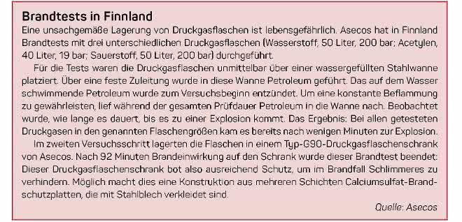 Infokasten zu Brandtests (Quelle: Asecos)