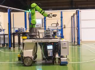 """Demonstrator """"fahrbarer MRK-Roboter"""""""