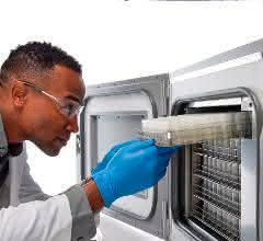 Person in Laborkittel vor Tiefkühlgerät