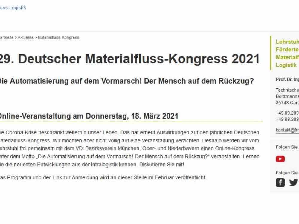 Materialflusskongress: 2021 rein digital, 2022 dann wieder wie gewohnt