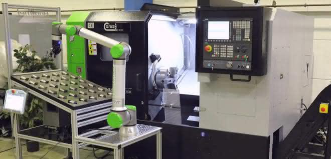 Automatisierungslösung: Cobot an der Drehmaschine