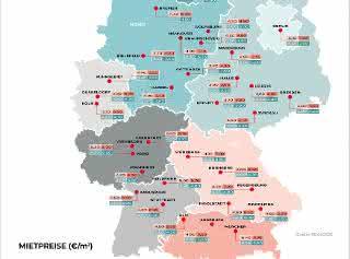 Realogis veröffentlicht Deutschlands Mietpreiskarte