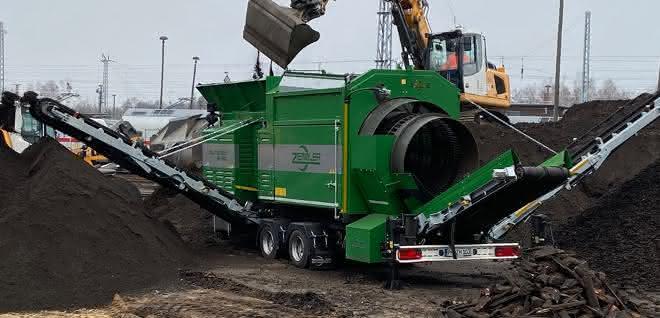Recycling: Doppeltrommel-Siebanlage im Recycling-Einsatz