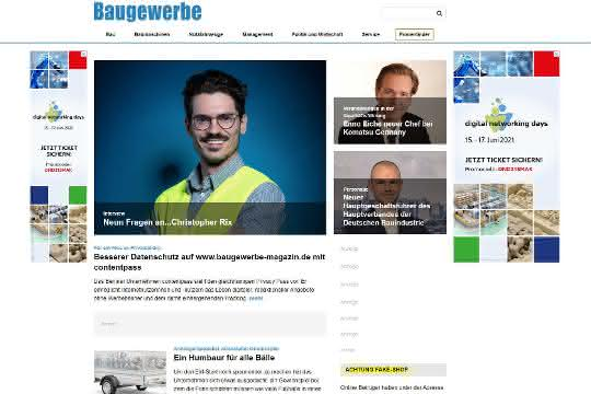 Besserer Datenschutz auf www.baugewerbe-magazin.de mit contentpass
