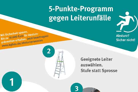 BG Bau: Fünf-Punkte-Programm: Leiterunfälle vermeiden