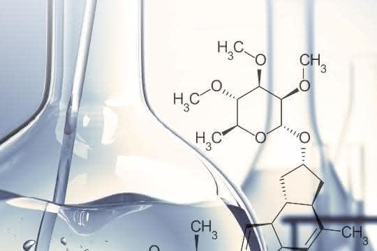 Glaskolben und chemische Formel (grafische Darstellung)