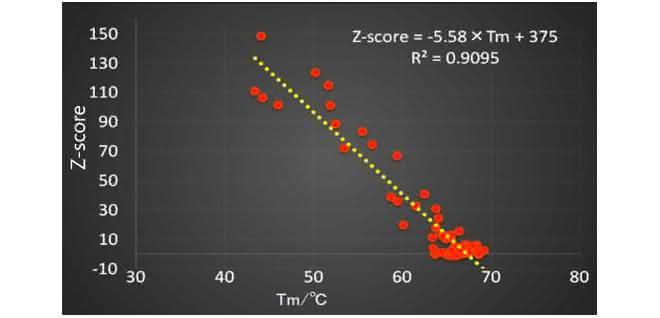 Grafik z-Score; Denaturierungstemperatur